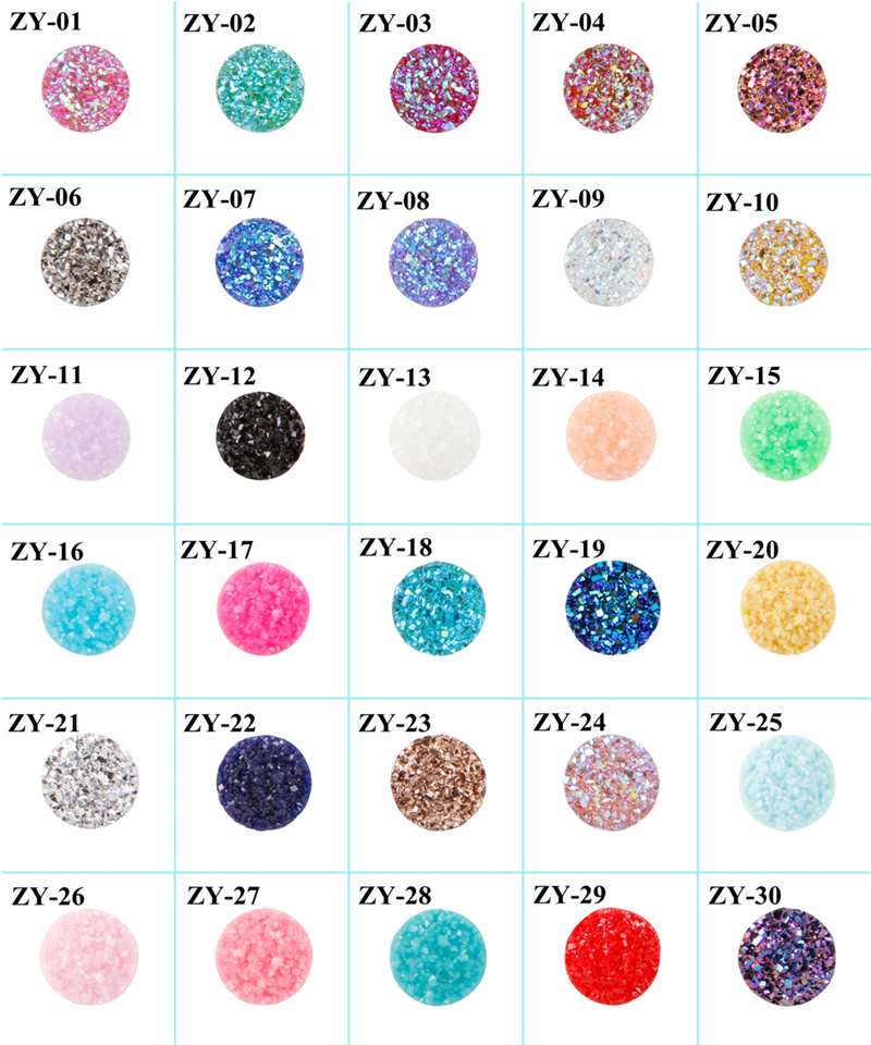 20pcs/lot 12mm Round Resin CabochonsIridescent Faux Druzy Cabochons color 1 image