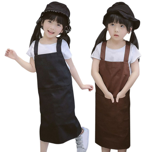 Kitchen Apron For Kids Tables With Bench Seating Hot Korean Style Children Aprons Cooking Accessory Black Coffee Child Multi Function