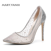 Women Pumps Big Size Shoes Silver Crystal Bling Mesh Transparent High Thin
