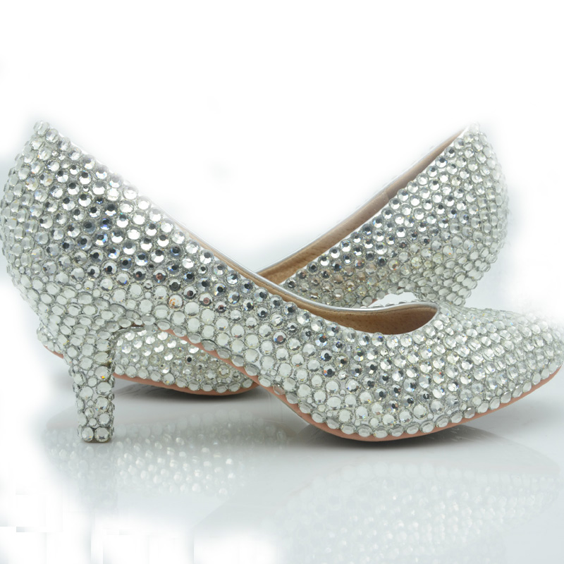 Online Shop 2016 Middle Heel Bridesmaid Shoes Silver Color Wedding ...