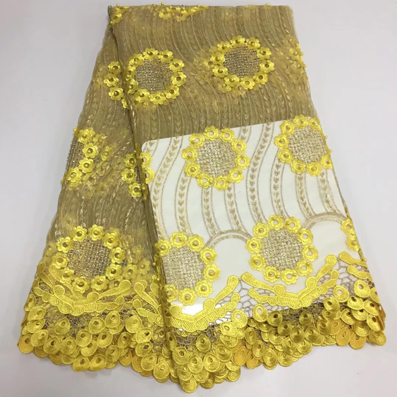 Free shipping 5yards/pc yellow African tulle lace fabric wonderful embroidered French net lace fabric with beads stones FLD004Free shipping 5yards/pc yellow African tulle lace fabric wonderful embroidered French net lace fabric with beads stones FLD004
