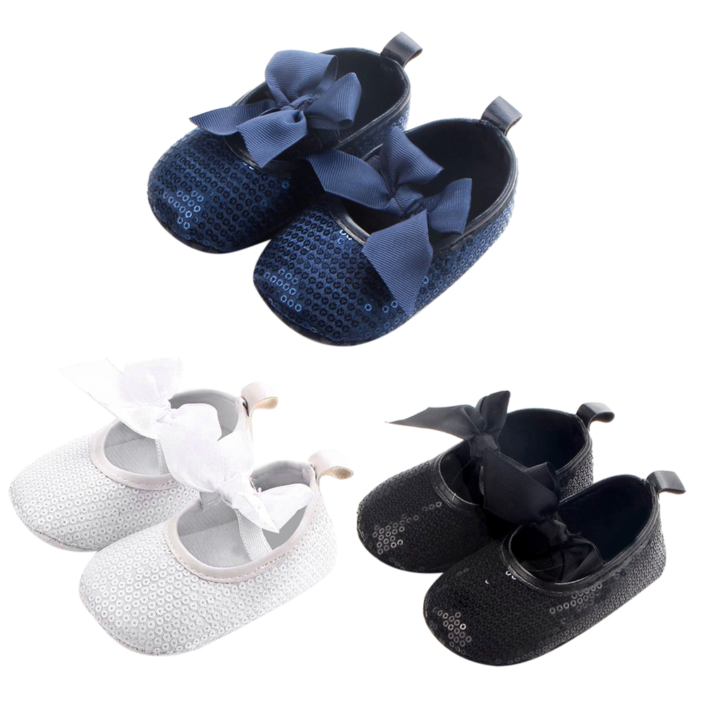 Baby Anti Slip Shoes Sneakers Newborn Infant Girls Moccasins Bowknot Sequin Soft Sole First Walkers 2017 New Toddlers Prewalker