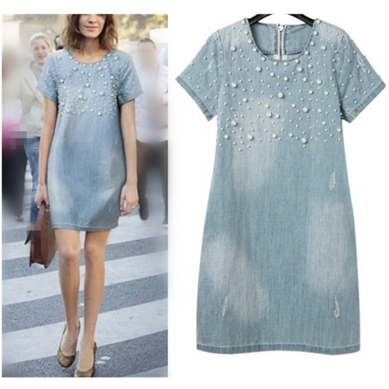Large Size 5Xl Jeans Sundress Womens Casual Embroidery Beaded Denim Dresses Plus Party Summer Dress