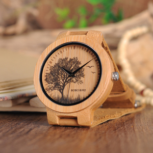 Image 2 - בובו ציפור עץ שעונים גברים כמו בחיים מיוחד עיצוב UV הדפסת חיוג פנים במבוק relogio masculino מתנות שעונים C P20