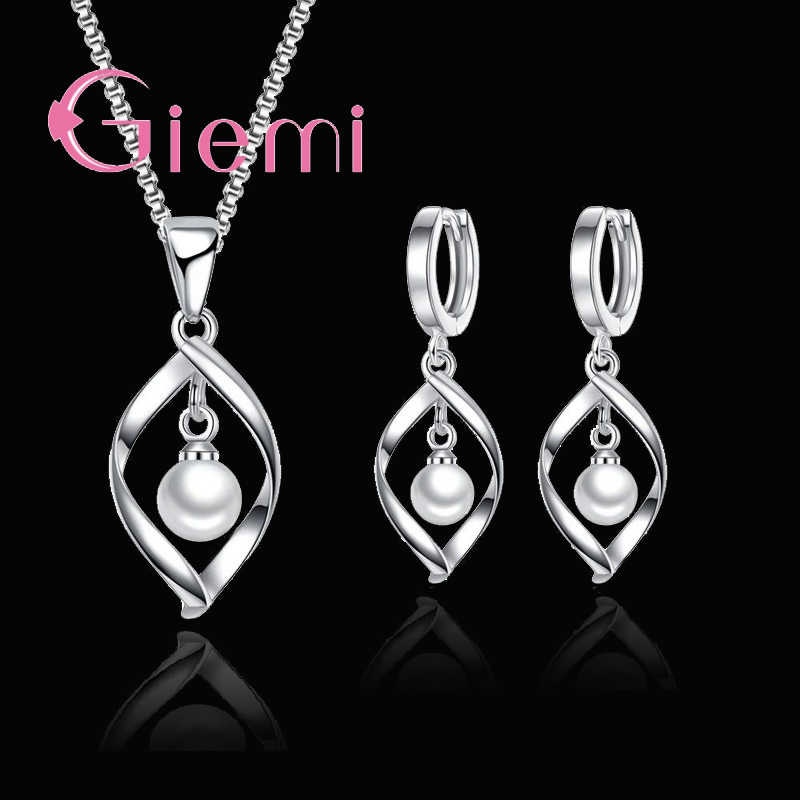 Hot Sell Elegant Women 925 Sterling Silver Jewelry Sets Shiny Pearl Accessories Charm Dangle Earrings Pendant Necklace