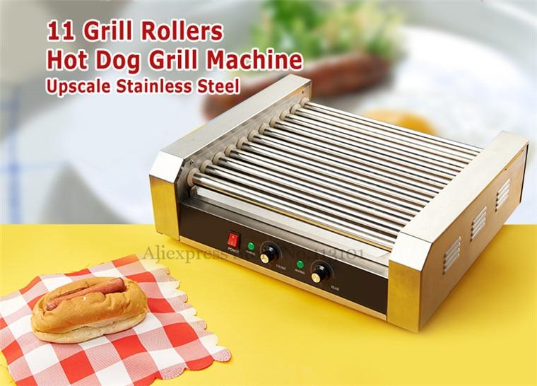 electric hotdog grill commercial hotdog maker warmer 11roller cooker grilling machine without hood cover - Hot Dog Warmer
