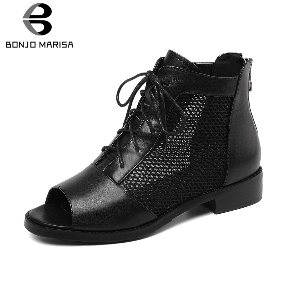 BONJOMARISA Brand New duży rozmiar 34 41 panie prawdziwej skóry Peep Toe Hollow Zip buty kobieta na co dzień biuro lato sandały 2019 w Niskie obcasy od Buty na  Grupa 1
