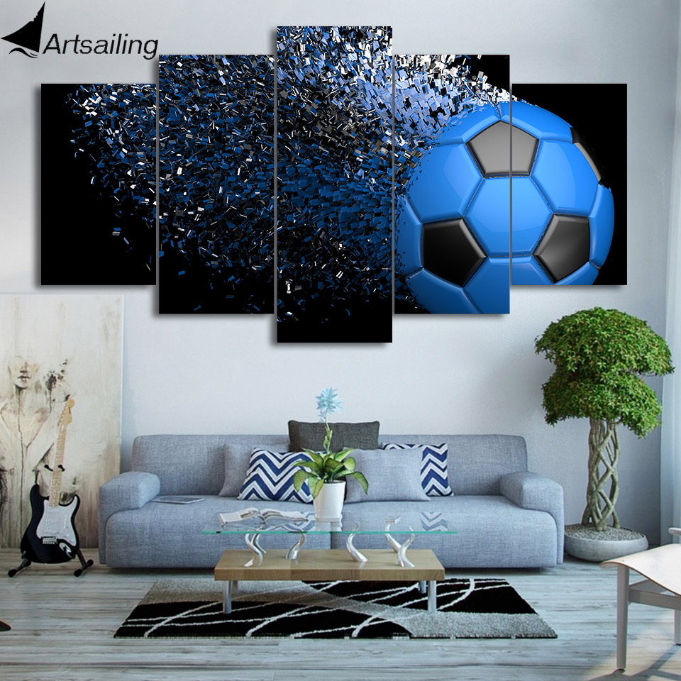 HD Printed 5 Piece Canvas Art Football Fragmentation Painting Wall Pictures for Living Room Decor Free Shipping CU-2459C
