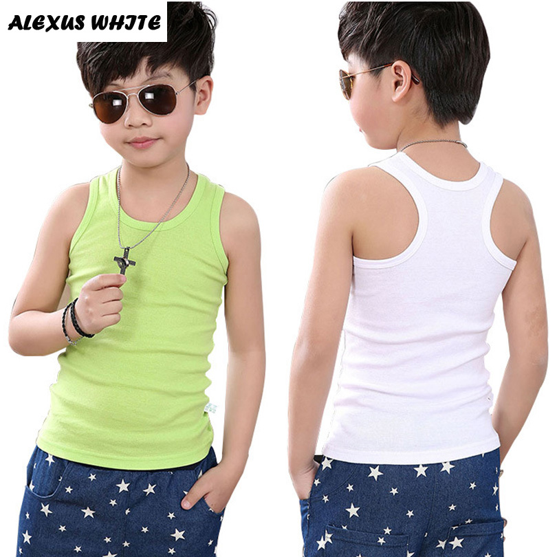 Children Clothing 2017 Boy Girl Cotton Vest T Shirt Tops Tee Back Kids Toddler Baby 90-160cm Teenager Underwear 8 Color Elastic
