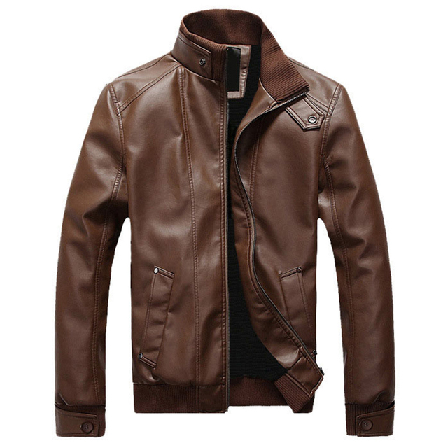 Spring and autumn men's clothing Men's Leather Jacket, PU overcoat with woolen lining, faux leather coats and jackets