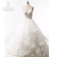 Top Beading Leaves V Neck Open Low Back Court Train Puffy A line Tiered Pleat Bridal Organza Ruffle Skirt Wedding Dress 2018(China)