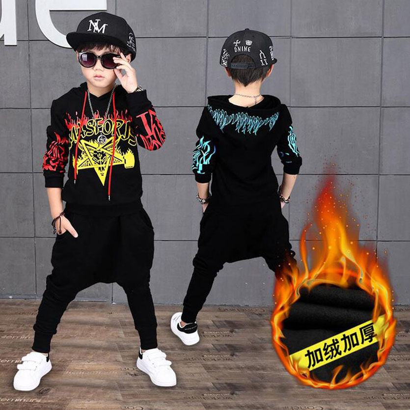 Boy Clothes Sets Thick Fleece Warm Children Clothing Set Sport Suit Coats Pants Kids Tracksuit Hoodies Vetement Enfant Garcon 2017 new kids clothes children summer clothing sets baby boys hip hop cotton costumes tracksuit vetement enfant garcon roupa