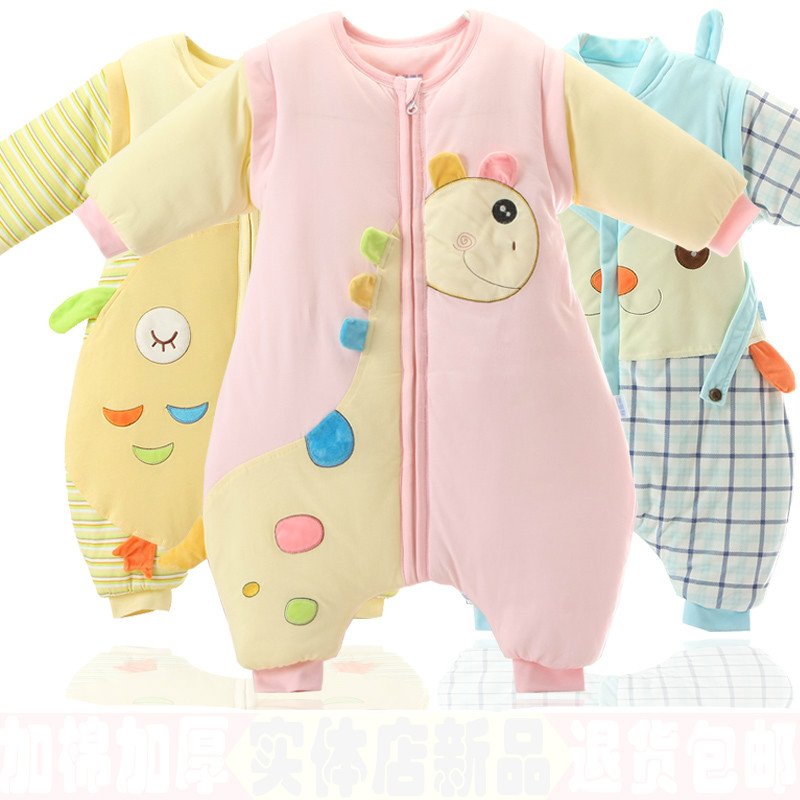 0-3 years old baby sleeping in autumn and winter childrens baby sleeping bag is added to straddle anti kick warm cotton