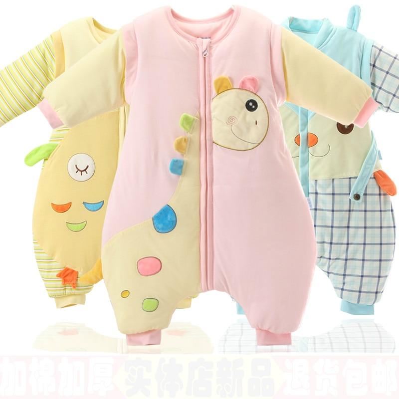 High quality baby sleeping bag autumn winter infant cartoon sleeping bag anti-kick warm cotton sleepsack detachable sleeves цена