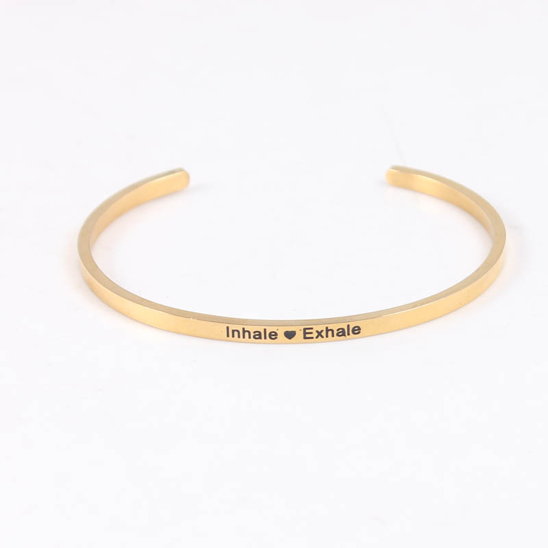 Inhale heart Exhale Gold Color 316L Stainless Steel Engraved Inspirational Quote Cuff bracelet Mantra Bracelet Bangle for Women