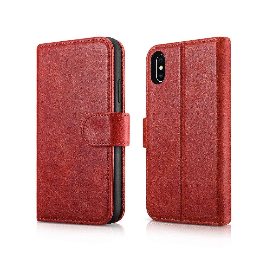 Étui portefeuille en cuir Vintage 2 en 1 détachable de luxe Icarer pour iPhone ex étui en cire mince à l'huile pour iPhone Xs étui en cuir