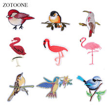 ZOTOONE Flamingo Patches Birds Stickers Diy Iron on Clothes Heat Transfer Applique Embroidered Applications Cloth Fabric G