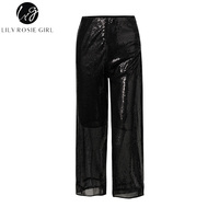 Lily Rosie Girl Casual Sequins Wide Leg Pants 2018 Spring Summer Women Pant Black Loose High