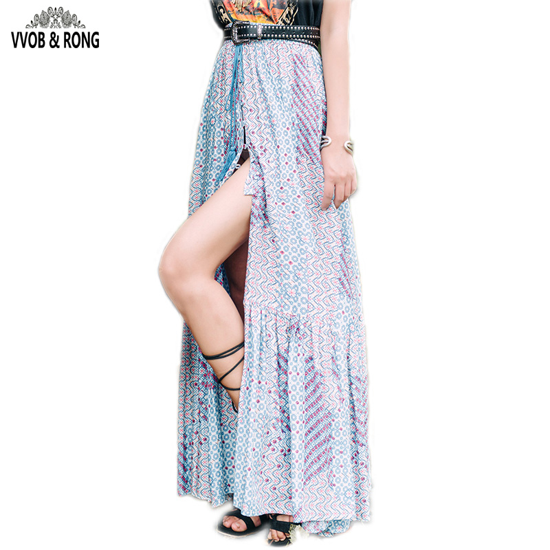 Elastic Waist Colour A-Line printed Slit Maxi Skirts 2016 Cotton Casual Long Split Skirt High Waist Pleated Skirt