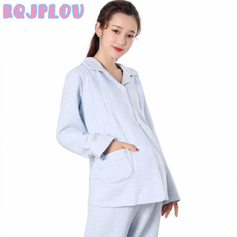 Winter Keep Warm Maternity Pajamas 2pcs Sets Sleepwear for Pregnant Women 100%Cotton Breastfeeding Clothes Nursing Sets