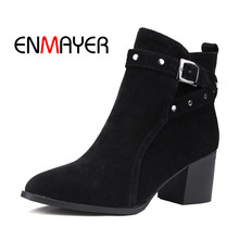 ENMAYER 2018 Spring And Summer Newest  Square Toe Short Plush Casual Buckle Strap Women Boots Middle Heels Shoes WHY95