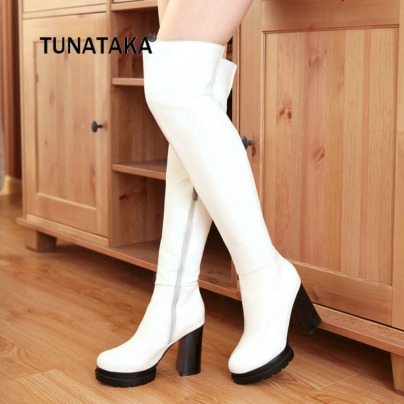 Winter Warm Fashion Side Zipper Over The Knee Boots Comfortable Platform Thick High Heel Thigh Boots Black White Red women platform chunky high heel over the knee boots side zipper winter warm thigh boots fashion woman shoes white black