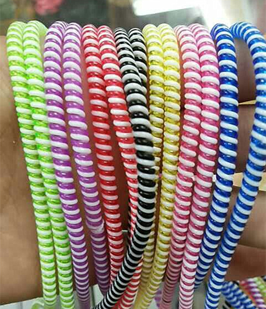 20pcs/lot 50cm Double Colors Solid Color TPU spiral USB Charger cable cord protector wrap cable winder organizer, Hair ring