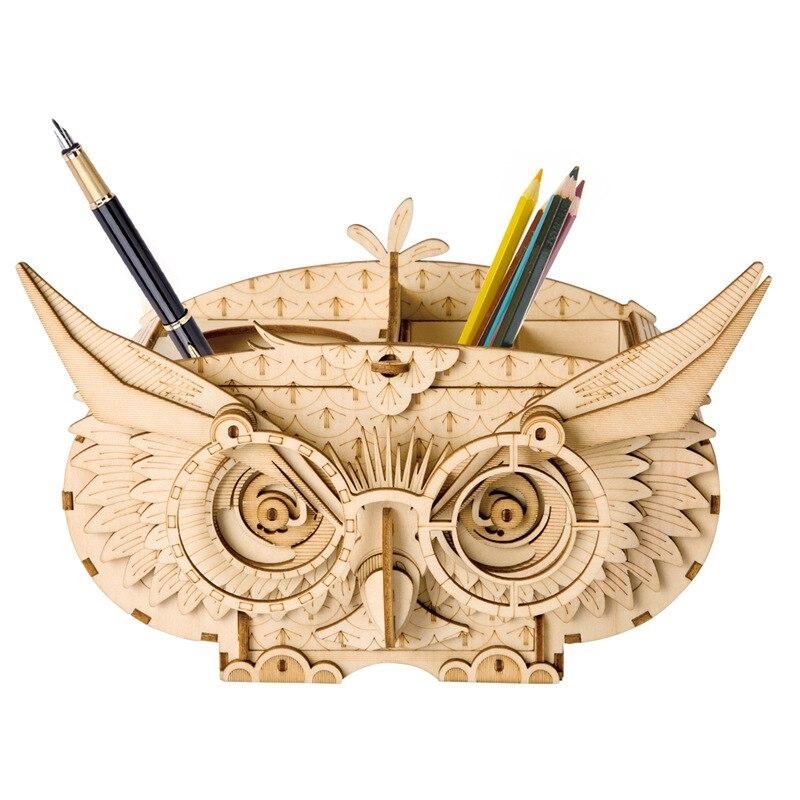 Robotime DIY 3D En Bois Hibou Puzzle Jeu Cadeau & Porte-Plume et Boîte De Rangement pour Enfants Kid Ami Modèle Kits de Construction populaire Jouet TG405