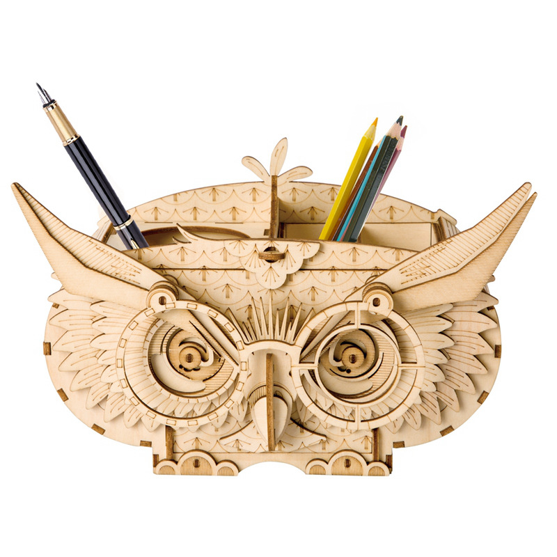 Robotime DIY 3D Wooden Owl Puzzle Game Gift&Penholder&Storage Box for Children Kid Friend Model Building Kits Popular Toy TG405 diy wooden building block 65pcs kid puzzle game assemble toy early education tool