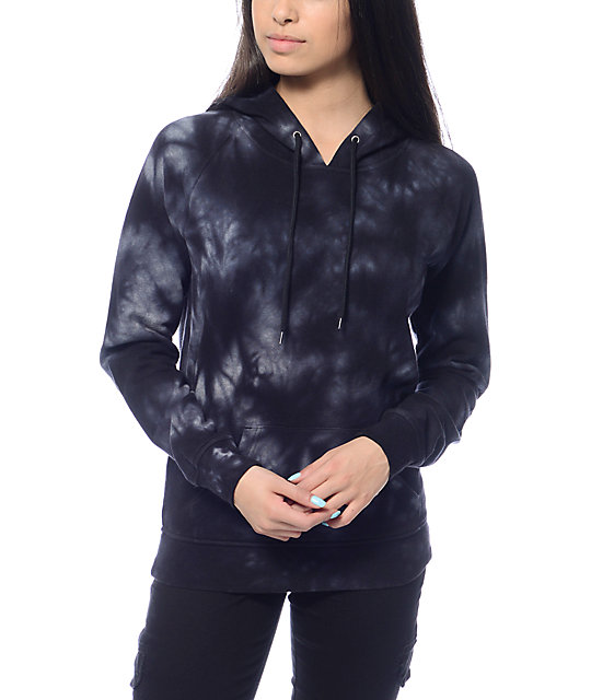 Womens Black Tie Dye Pullover Hoodie USA Size M (Faulty)