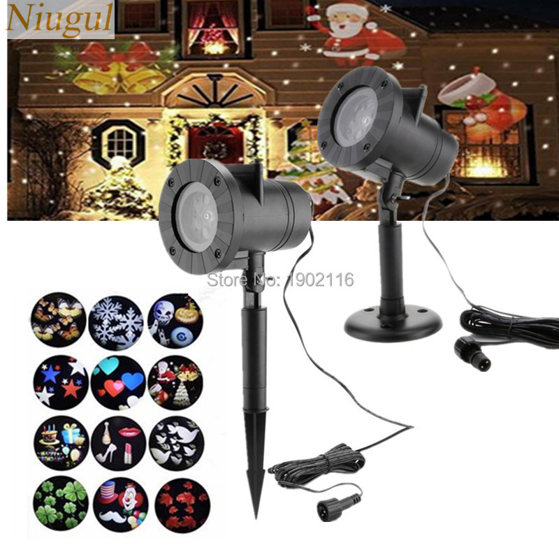 Waterproof Outdoor/Indoor LED Landscape Pattern Projector with 12 Changeable Patterns for Wedding Birthday home Party Christmas