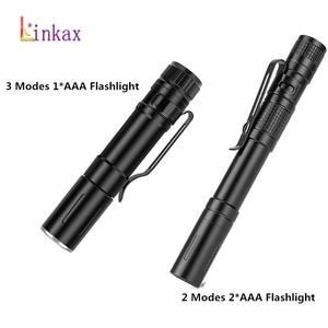 Flashlight Torch Camping Mini Led Hunting Portable by Aluminum 2xaaa-Battery 2-Modes
