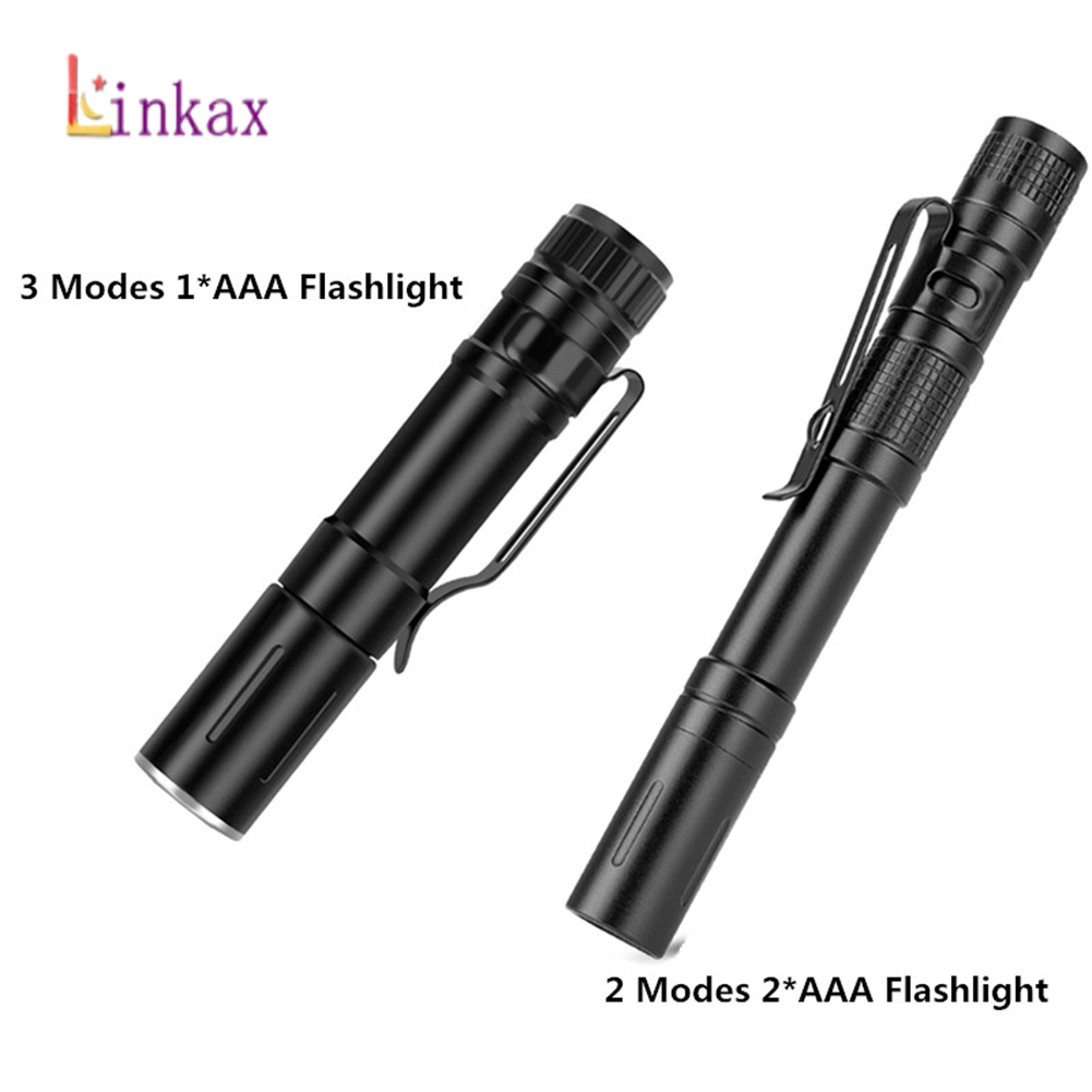 Portable Pen Light Mini LED Flashlight Torch 2 Modes Aluminum Alloy Flash Light Hunting Camping Emergency Lamp By 2xAAA Battery