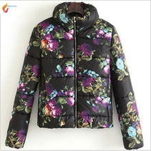 Europe United 2017 Winter Brief Paragraph Fashion printing Cotton-padded Jacket High Collar Bread served Cotton Coat Women G1615