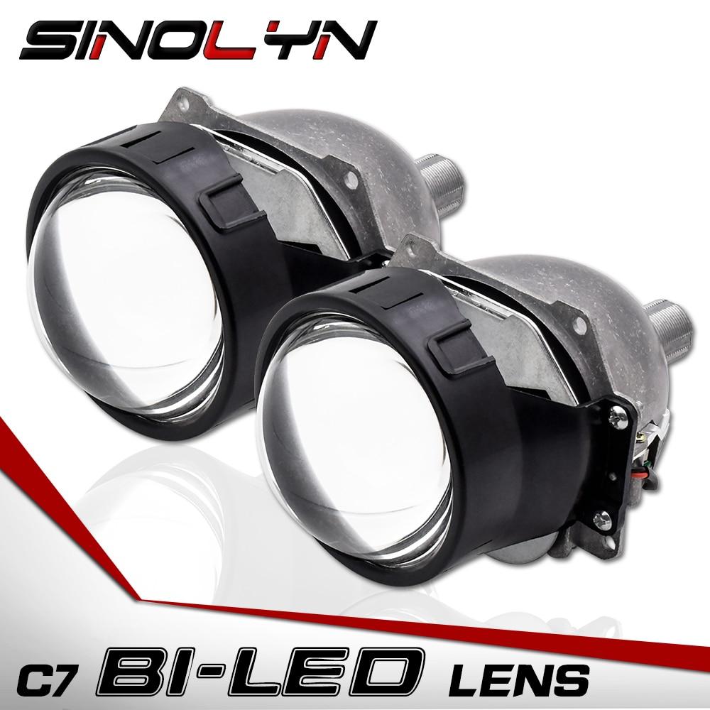 Sinolyn Car Bi LED Lens Headlight Projector Lenses H1 H4 H7 9005 90006 LED Headlamp Light Retrofit DIY Headlamp Kit 3.0'' 5500K