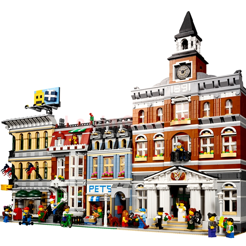 LEPIN 15005 Grand Emporium LEPIN 15003 City Town Hal LEPIN 15009 Pet Shop Supermarket Model Building Blocks Bricks legoings Toys конструктор lepin creators зоомагазин 2082 дет 15009