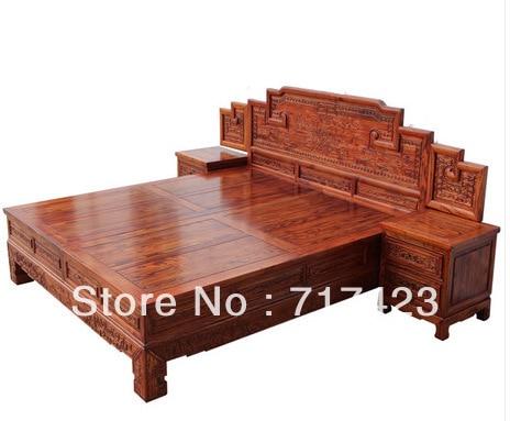 Elm wood furniture full bed 1.8 m bed antique furniture antique Chinese elm  bed bed