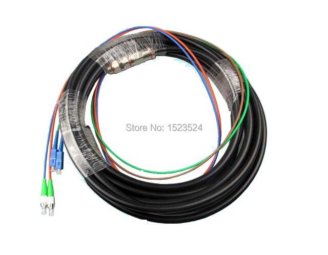 Al aire libre 3 Metros 4 Core SM SC/UPC-FC/APC Coleta Jumper Cable Patch Cord De Fibra Óptica A Prueba de agua