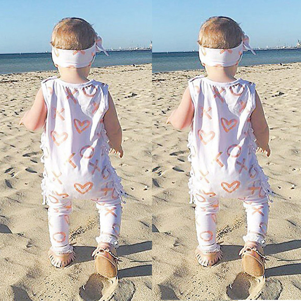 Newborn Baby Girl Clothes Summer Geometric Sleeveless Tassel Romper +Headband 2PCS Set Outfit Sunsuit Princess Girls Costume 2017 floral baby romper newborn baby girl clothes ruffles sleeve bodysuit headband 2pcs outfit bebek giyim sunsuit 0 24m