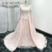 Роза Moda одежда с длинным рукавом мусульманин розовый свадебное платье Винтаж Кружево свадебное платье; шаль дополнительный