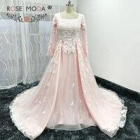 Rose Moda Langen Ärmeln Muslimischen Rosa Hochzeitskleid Vintage Spitze Brautkleid Passendem Schal Optional