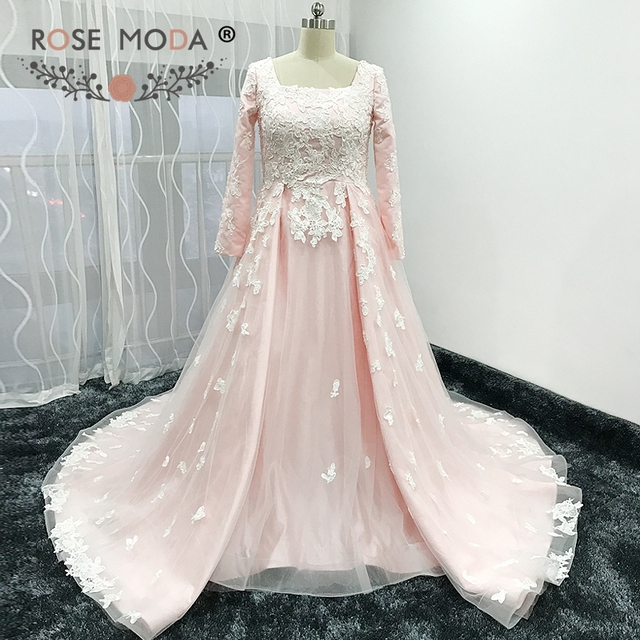 Rose Moda Long Sleeves Muslim Pink Wedding Dress Vintage Lace ...