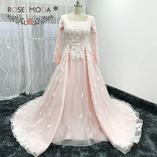 Rose Moda Long Sleeves Muslim Wedding Dress Pink Vintage Lace Gaun