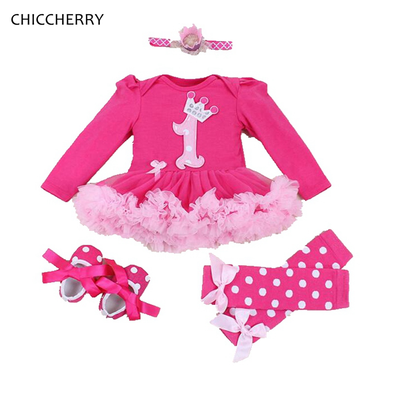 Long Sleeve Baby 1st Birthday Outfits Jumpsuit Bodysuit Tutu Party Dresses 4PCS Newborn  ...