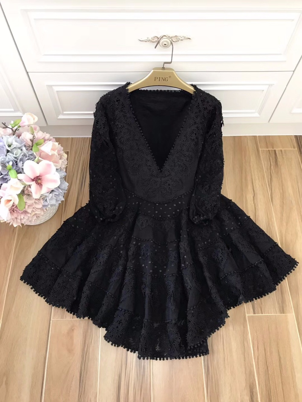 New Princess Women's Dress Casual Party Club Ladies Sexy Deep V-Neck Hollow Out Cotton Lace Embroidery a-line Summer Dress Mini 10