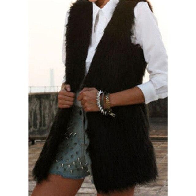 9d4406b8a97d8 2018 Winter Warm Thick Womens Faux Fur Coat Sleeveless Fluffy Jacket Fake  Fox Fur Vest Gilet Manteau Fourrure Femme Plus Size