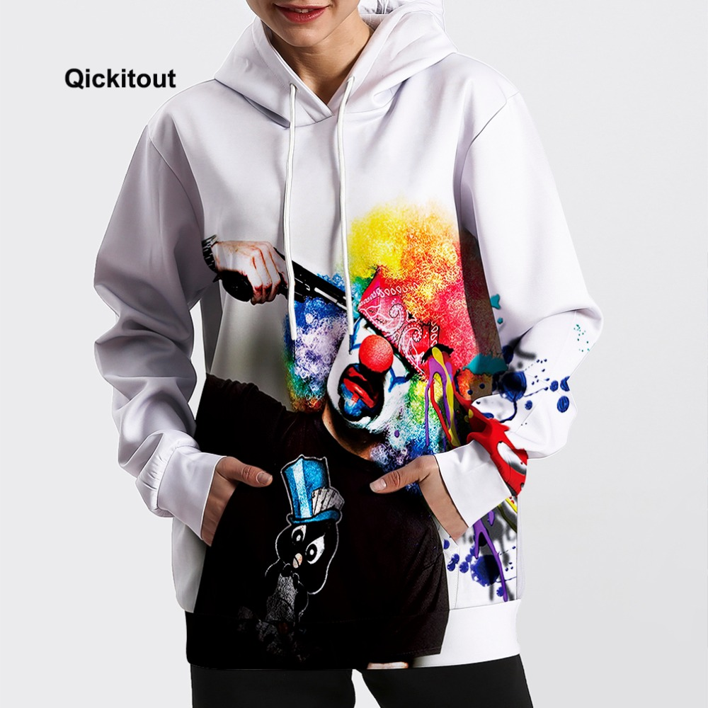 2018 Men/Women Cool Suicide Clown Sweatshirt Hip-Hop Oversize Hoodie Spring Long-Sleeve Dance Street Casual Pocket Coats