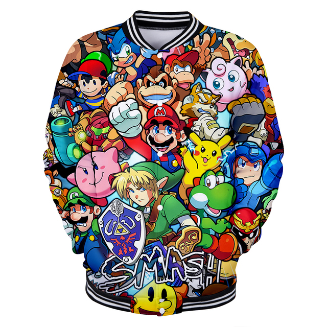 61a60a44e 2018 Autumn new style 3d Jacket Coat Cartoon Super Mario 3d print ...