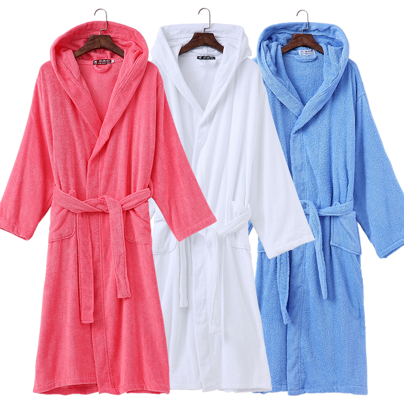 Winter Cotton Bathrobe Hooded Women Thick warm Men Dressing Gown Long Robe Wedding Bridesmaid Robe Homewear white Blue Autumn