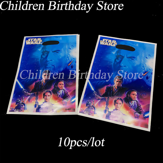 10pcs Lot Star Wars Gift Bags Kids Birthday Party Decorations Plastic Candy